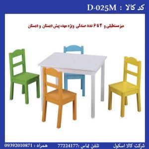 صندلی و میز مستطیلی مهدکودک